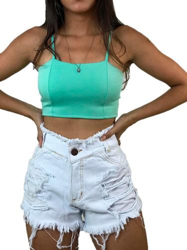7ad95c8d8 Short Jeans Cintura Alta Feminino Desfiado Roupas Femininas