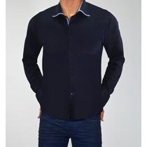 Camisa Slim Fit Azul Marinho Bruno Conte Algodão Premium
