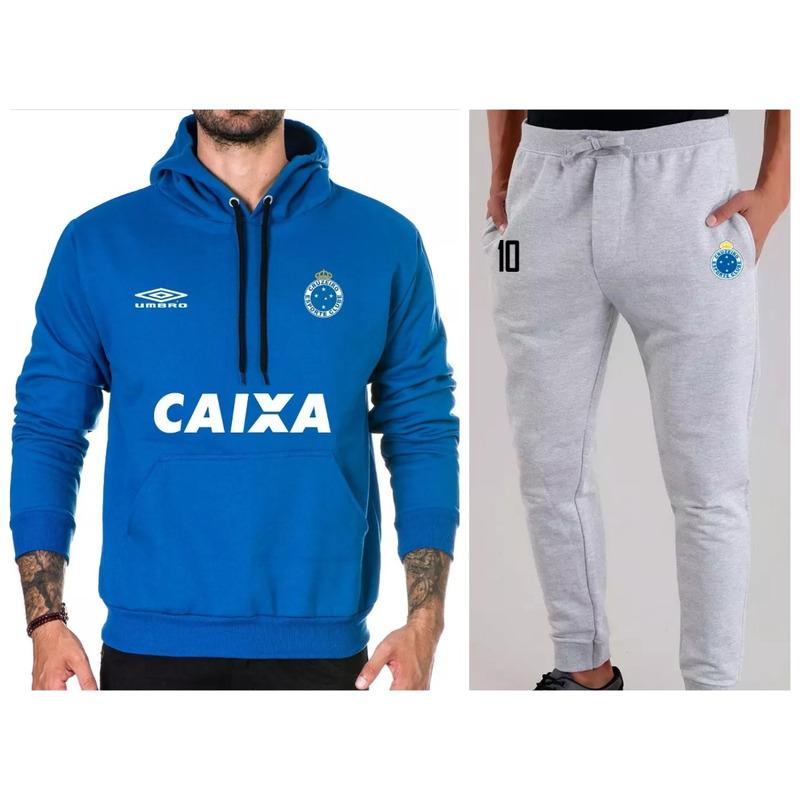 7ba2a1dd70 Kit   Blusa + Calça Moletom Cruzeiro Time Futebol Moleton em Belo ...