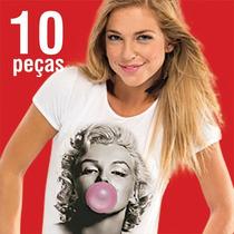 Camisetas T Shirts Femininas Em Tecido Flamê - Atacado