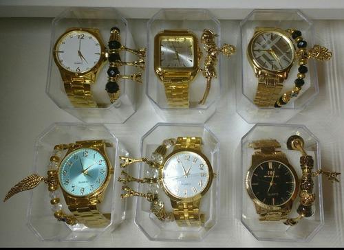 a2845ab74ad Kit C 7 Relógios Feminino Dourado+caixas+pulseira Atacado. R  160