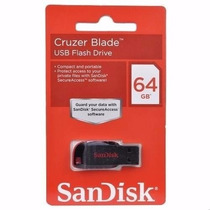 Pen Drive Sandisk 64gb Cruzer Blade Lacrado Original
