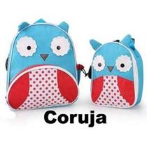 Kit Conjunto Mochila Infantil + Lancheira Skip Coruja