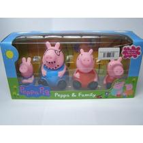 Família Peppa Pig Borracha Antialergico 4 Bonecos Sentados