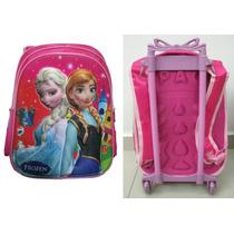 Mochila Escolar Frozen C Rodinhas Elsa E Anna Carrinho