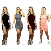 Vestido Curto Feminino 3d Decote Com Listras Rodado Promoção