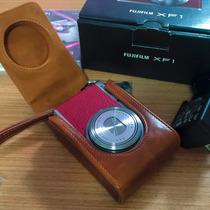 Câmera Digital Fuji Xf1, 3 Baterias, Case De Couro, Vermelha