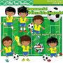 Kit Digital Meninos Futebol Brasil Imagens Scrapbook Cl17