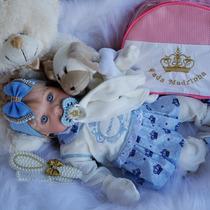 Bolsa Maternidade Bebê Reborn Boneca Coroa Loira Azul Isa