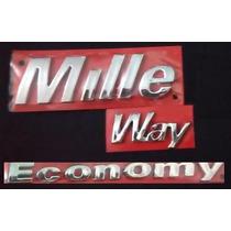 Kit Emblemas Fiat Uno Mille Way Economy - Modelo Original