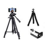 Tripé Celular Camera 1,80 M + Mini Tripé Flexível + Suporte