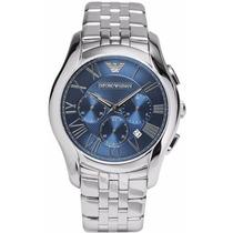 Relógio Emporio Armani Ar1787 Prata E Azul Frete Grátis.