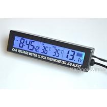 Voltimetro Relogio Termometro P/ Carro Bateria Em Tempo Real