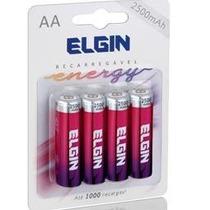 Pilhas Recarregáveis Elgin Aa 2500mah Com 4