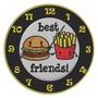 Relógio De Parede - Best Friends - Vintage - Burguer Rústico