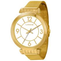 Relógio Feminino Lince Analógico Dourado, Pulseira De Aço