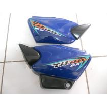 Tampa Lateral Titan 125 2000 Es Azul Com Adesivo