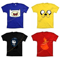 Camiseta Camisa Algodão Finn Jake Turma Hora De Aventura