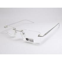 Armação Óculos Sem Aro Balgriff Aluminio 180 Lg6051 C4 Pr Mj