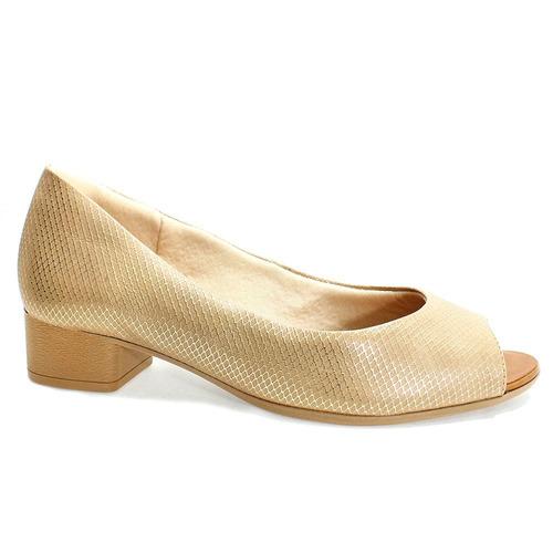 ad1c88809 Sapato Feminino Bege Usaflex Peep Toe