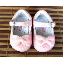 Sapatinho Social C/ Micro Pérolas P/ Bebê Criança 15 Ao 22