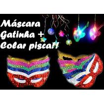 Kit C/ 60 Máscara Gatinha + 30 Colar Pisca Pisca