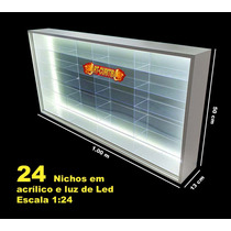 Estante Expositor ( 24 Nichos Led ) Escala 1;24 - Hot Wheels
