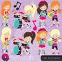 Kit Digital Scrapbook Imagens Banda Rock Meninas