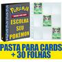 Pasta Fichário Cartas Cards Pokémon Com 30 Folhas 9 Bolsos Original