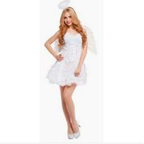 Fantasia Feminina Anjo Angel Branca Importado Arrase Festa