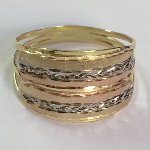 Labelejoias Anel Tricolor Fosco E Diamantado Ouro 18k 750 6882729162