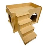 Arranhador Para Gato Casa Com Escada 2 Andares Novidade Mdf