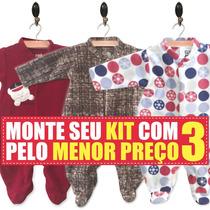 Kit 3 Macacão Inverno Soft Para Bebê Rn, P, M, G E Gg