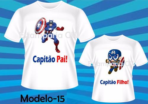 cf3439a6180644 Kit Camisetas Tal Pai Tal Filho Capitão America Dia Dos Pais à venda ...
