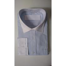 Camisa Social Masculina Colarinho E Punhos Exclusivo Bordado