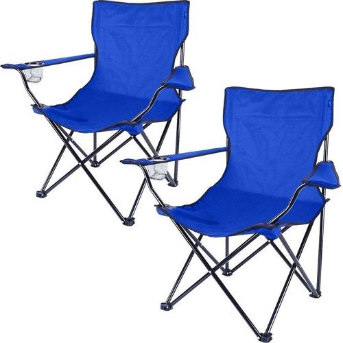 2 Cadeira Camping Pesca Dobrável Praia Porta Copo E Sacola
