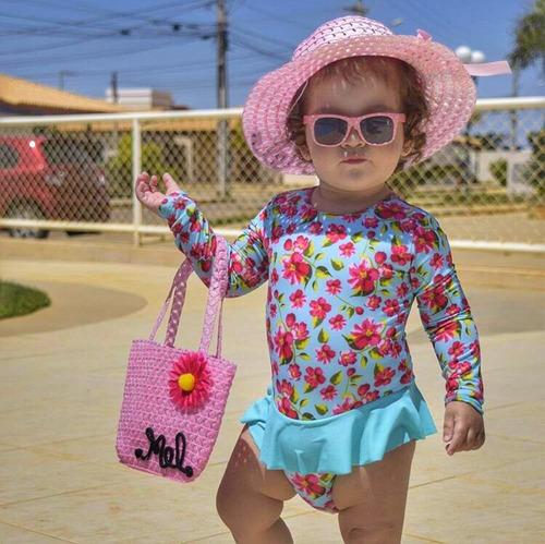 Chapéu De Praia Personalizado Infantil + Bolsa Grátis Promo 43013dd7eca