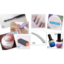 Kit Pincel Pó Lixa Top Coat Primer Gel Uv Sucesso De Vendas