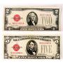 2 Cédula Antiga 2 E 5 Dólar 1928 Colecão Mbc Selo Vermmelho
