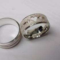 Par De Aliancas Em Prata 950 Coração Vazado Diamantada