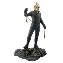 Boneco Motoqueiro Fantasma 33,5 Cm. - Estatueta Em Resina