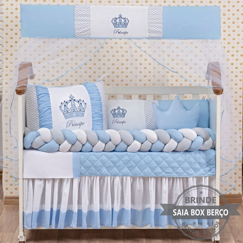 Kit Berço Trançado Coroinha Menino Azul 11 Peças Com Saia