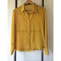 Camisa Mostarda Transparente Fininha Tam M / 38 Chique