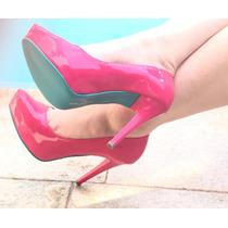 ef241ab5fd Scarpin Meia Pata Salto Alto Fino Rosa Pink Sola Turquesa à venda em ...