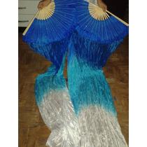 Fan Véu,veu Leque Degrade Azul Com Branco,dança Do Ventre