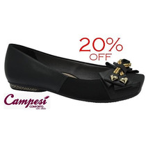 20%off Sapatilha Campesí (dakota Conforto) Couro Preto L4592