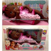 Boneca Baby Nenenzinha Recém Nascida Morena Negra Divertoys