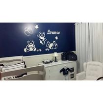 Decoração Painel Parede Mdf Branco Ursinhos Quarto Do Bebê