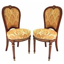 Par De Cadeiras Estilo Clássico Antigo Marchetada
