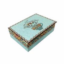 Caixa De Madeira Decorada Para Chá Com 6 Repartições